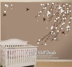 Removable Nursery Wall Decals Cherry Blossom Birds Nursery Wall Decals Tree Vinyl Wall Decals