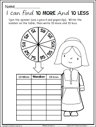 thanksgiving math spinner 10 more 10 less madebyteachers