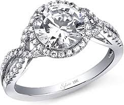 engagement rings with halo sylvie twist shank halo engagement ring sy260