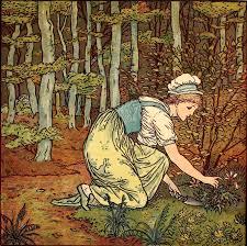 woman gardening color illustration by walter crane circa 1889
