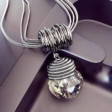 vintage crystal pendant necklace images Wholesale big crystal ball pendant necklace vintage fasion long jpg