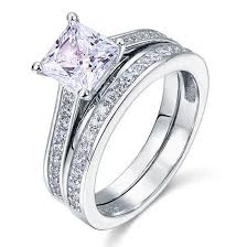jewellery rings silver images Silver rings silver 1 5 carat princess cut 2 pc clear stoned ring jpg