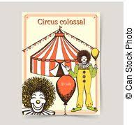 vector clipart of cartoon clown in circus tent vector
