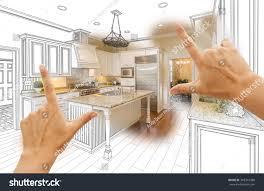 Custom Kitchen Design Female Hands Framing Custom Kitchen Design Stock Photo 365319488