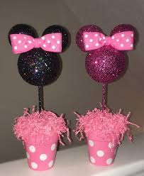 Pink And Black Minnie Mouse Decorations Minnie Mouse Inspired Centerpiece Pink Glitter Or By Amyjays