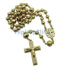 rosary necklaces gold shiny beaded jesus cross rosary necklace hip hop