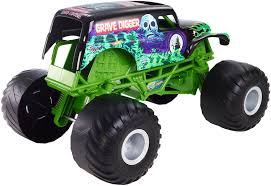 monster truck grave digger games amazon com wheels monster jam giant grave digger truck toys