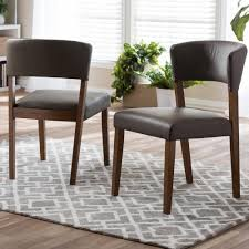 baxton studio montreal gray faux leather upholstered dining chairs