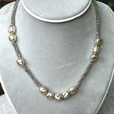 beaded silver necklace images Vintage pearl and silver beaded necklace carolaine on artfire jpg