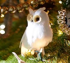 feather owl ornament pottery barn
