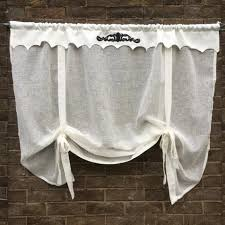 Embroidered Linen Curtains Tie Up Curtains Linen And Letters