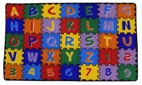 Rugs For Children Amazon Com Large Classroom Kids Rug Educational Abc Puzzle Area