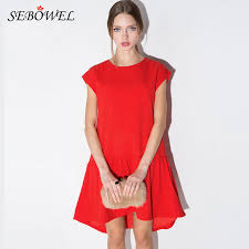 2016 look slim red women short front long back dress casual loose