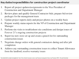 Sample Resume Of Project Coordinator by It Project Manager Job Description Construction Project