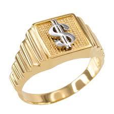 cheap mens rings images Gold dollar sign square mens ring jpg