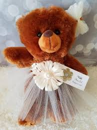 flower girl teddy gift flower girl gift brown teddy in your choice of tutu dress