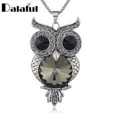 big owl necklace images Unique big crystal eyes owl necklace long chain delicate necklaces jpg