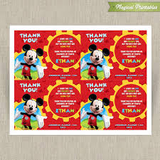 mickey mouse clubhouse printable birthday thank you cards choose