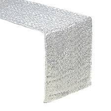 white and silver table runner amazon com sequin table runners silver amazlinen 12 x 108 inch