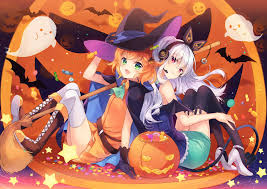halloween thigh highs green eyes red eyes redhead white hair halloween pumpkin