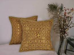 home decor handmade india handmade mirror work embroidered golden color cushin cover