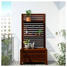 outdoor wood wall äpplarö bench w panel and shelves outdoor ikea
