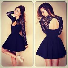 black lace dress black lace spliced hollow out backless halter sleeve