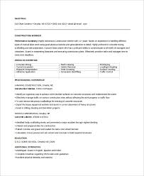 Construction Job Resume Samples by Sample Construction Resume 9 Examples In Word Pdf