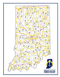 Indiana State Map Indiana Bicentennial Torch Relay Torch Route Unveiled Iotd