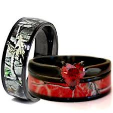 camo wedding rings his and hers his black titanium heart engagement camo wedding rings