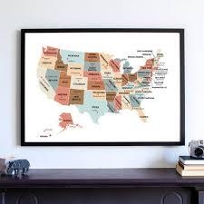 map usa states capitals housewarming gift united states map usa state capitals