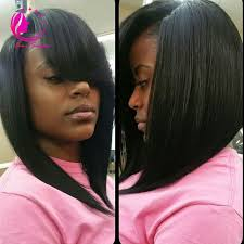 pic of black women side swept bangs and bun hairstyle black bob hairstyles with side bangs hair