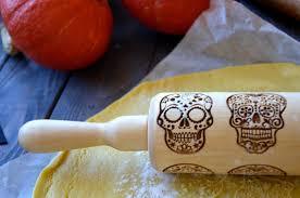 Sugar Skull Halloween Rolling pin Dia de los Muertos Cookie