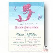 glitter mermaid bridal shower invitation peg u0027s prints