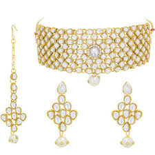 ethnic gold necklace images Buy aadita ethnic gold plated meenakari stones and pearl choker jpg