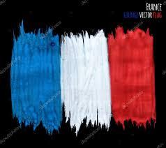 painted grunge france flag brush strokes on black background