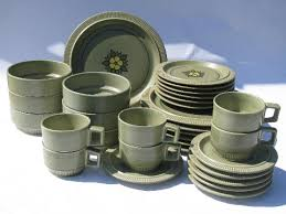 set 6 pcs vintage style nordic green mod style 70s vintage pfaltzgraff dinnerware