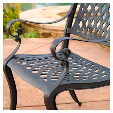 hallandale set of 2 cast aluminum patio chairs black sand