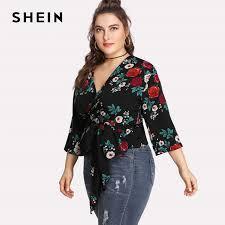 plus size blouse shein floral black plus size blouse sleeve vacation blouse