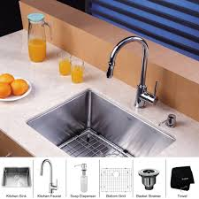 kraus 23 inch undermount single bowl 16 gauge stainless steel kitchen sink with kitchen faucet and