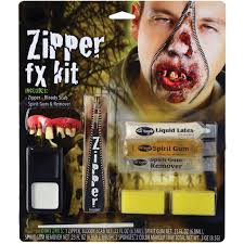 latex halloween mask kits zipper fx make up kit fake zip zombie wound cut gore scar