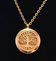 stainless gold necklace images Rose gold tree of life aromatherapy necklace diffuser 316l jpg