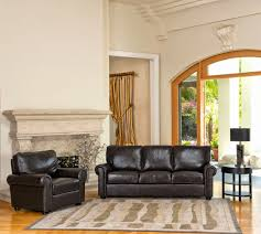 espresso leather sofa set with armrest and round black feet