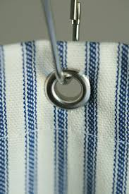 Nautical Curtain Fabric Nautical Ticking Stripe Grommeted Shower Curtain In Stock 72x72