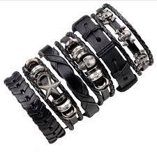 wrist bracelet men images 6pcs set black wristband genuine leather charm bracelet men jpg