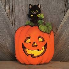 vintage halloween pumpkin decoration hallmark black cat jack o