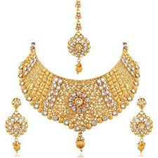 bridal necklace set gold images Buy apara exquisite gold plated diamond studded bridal necklace jpg