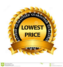 lowest price lowest price guarantee gold label sign template stock vector