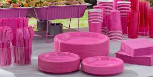 fuschia pink table cloth bright pink tableware party city