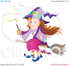 clipart of a halloween witch and her cat royalty free vector